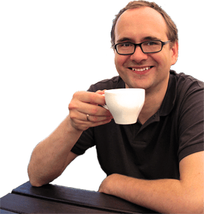 Michael uses feedbackstr on his smartphone to request his favorite blend of coffee
