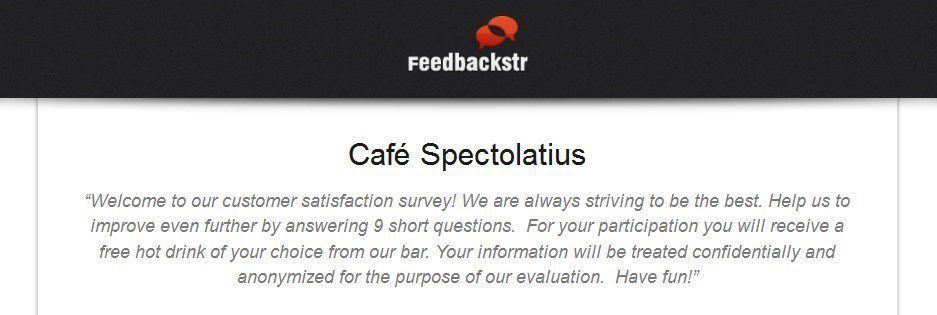 Welcome message for a Feedbackstr survey