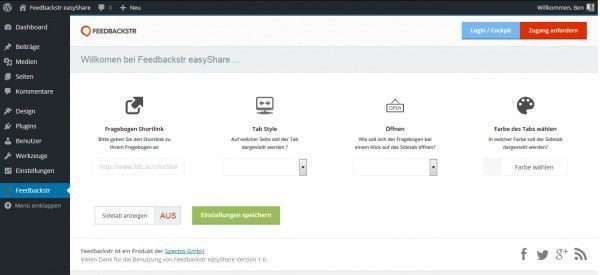 Screenshot Feedbackstr easyShare Einstellungen