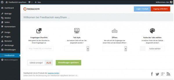 Screenshot Feedbackstr easyShare Einstellungen