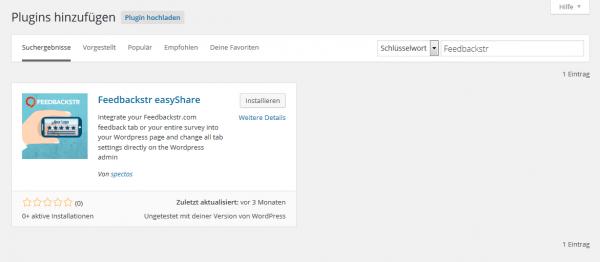 Screenshot der automatischen Feedbackstr easyShare Installation für WordPress