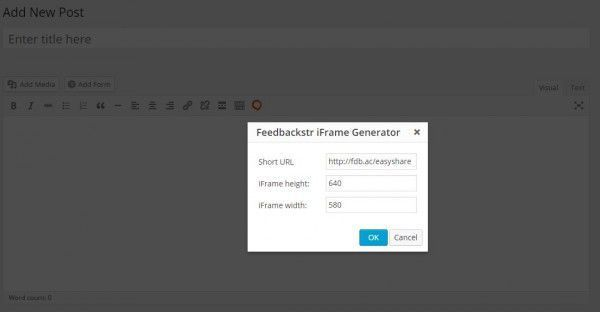 Using Feedbackstr's iFrame Generator
