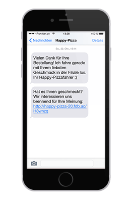 Feedback per SMS bei Happy Pizza