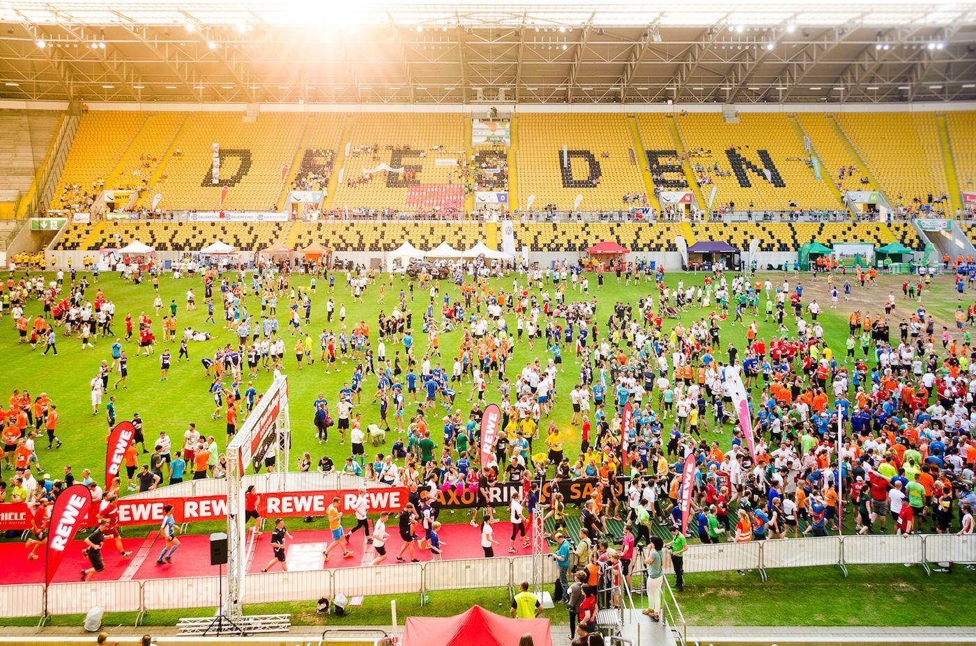 Rewe Teamchallenge Ziel im DDV Stadion Dresden